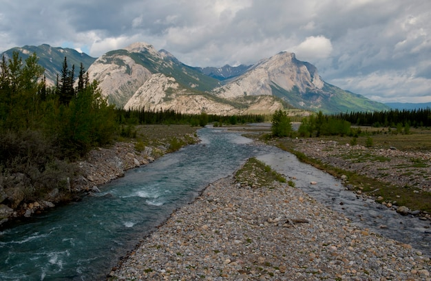 Athabasca river with mountains in the background, jasper national park, alberta, canada