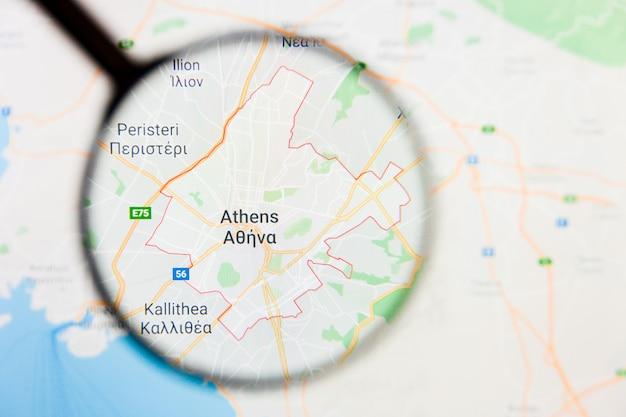 ギリシャのアテネ市の拡大鏡によるディスプレイ画面上の視覚化の例示的な概念