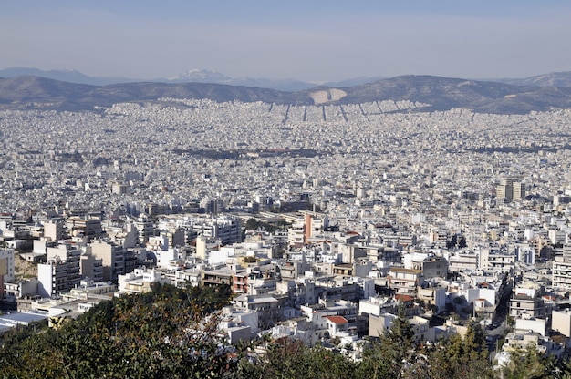 Athens view from the hill in greece