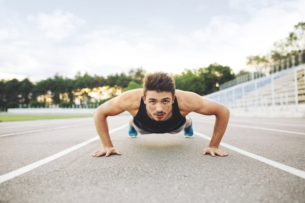Athlete doing push-ups