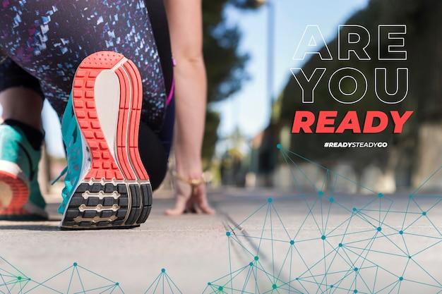 Atleta pronto a correre con il messaggio sei pronto?