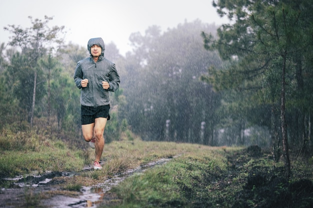 Athlete runner in grey sports jacket forest trail in the rain