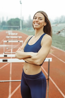 Athlete wearing a blue sportwear