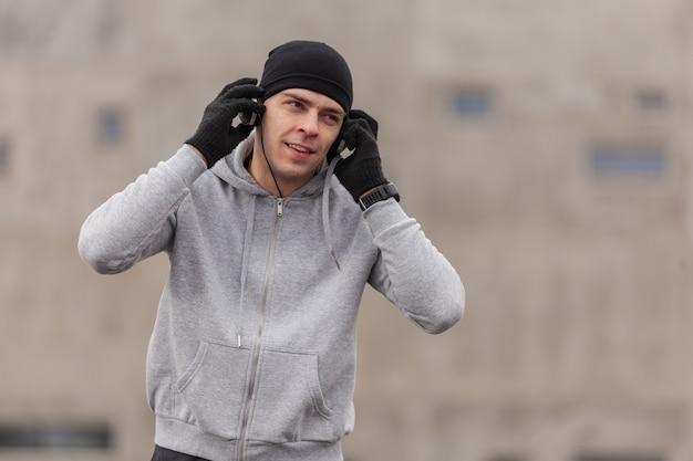 Athlete wearing headphones