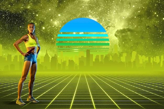 Женщина спортсмена. красивый фон, синти-волна и ретро-волна, футуристическая эстетика паровой волны. ультрафиолет, спортсмен в светящемся неоне. стильный флаер для рекламы, предложения, ярких цветов и вида на город.