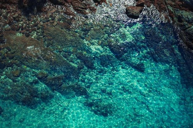 운동, 갈색 머리, 열대 섬의 따뜻한 바다에서 표류하는 아름다운 모습을 보여주는 서핑 보드에 그녀의 뱃속에 누워있는 동안 포즈