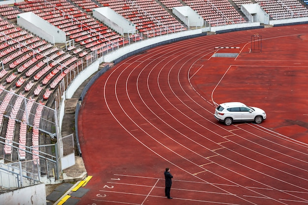 Athletic stadium without spectators at the time of sports matches