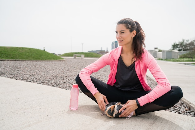 Athletic woman on a break from training.