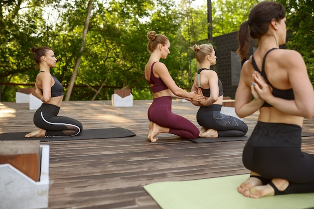Athletic women on group yoga training in summer park. meditation, class on workout outdoors