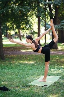 Спортивная (ый) молодая женщина занимается йогой в парке утром, женские тренировки на коврике для йоги