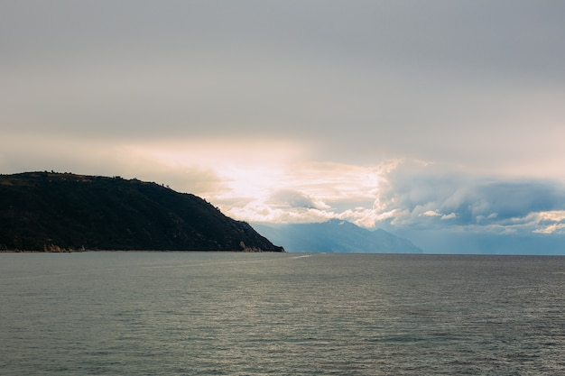 Athos peninsula, greece.view from a ferry. orthodox monasteries, mountains