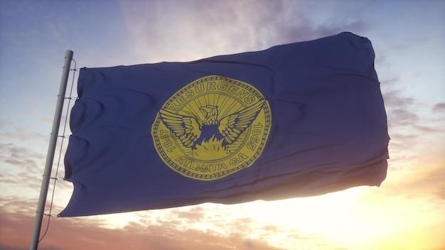 Atlanta flag, georgia, waving in the wind, sky and sun background. 3d rendering.