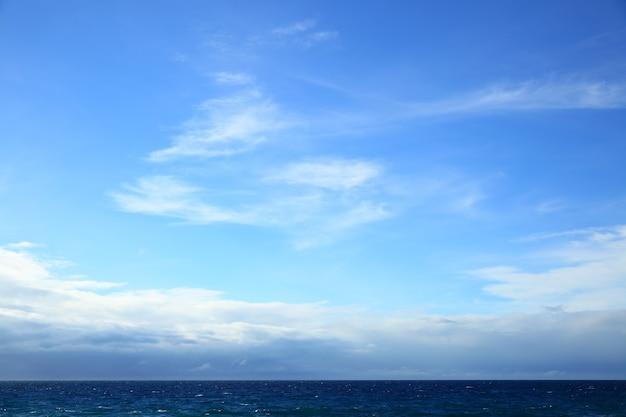 Атлантический океан - красивый морской пейзаж морской горизонт и голубое небо. может использоваться как фон