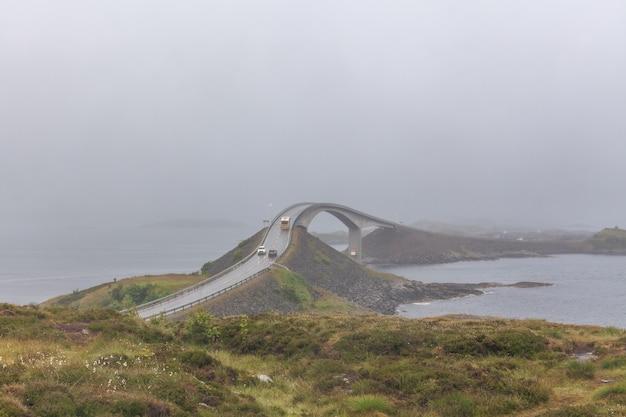 Atlantic road bridge in foggy weather, atlantic seaside