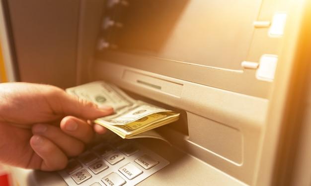 Atm 은행 은행 지폐 은행 창구에서 통화 제거