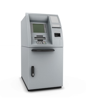 Atm isolate in automated teller machine in 3d illustration