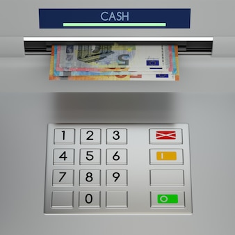 Atm machine keypad with euro banknotes