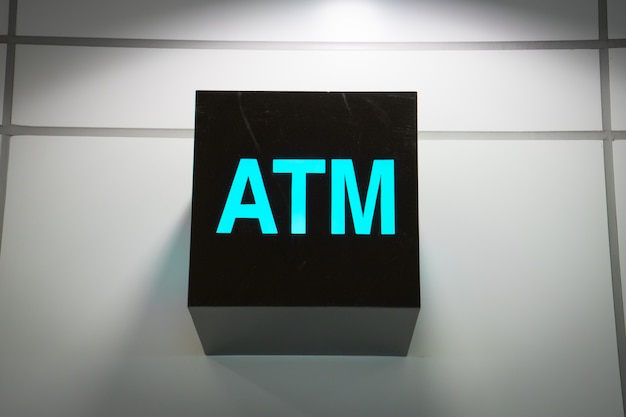 Atm machine sign at the airport