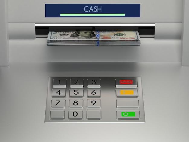 Терминал банкомата с денежными денежными купюрами в слоте и клавиатурой