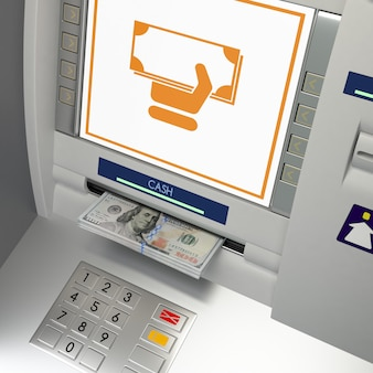 Atm machine terminal with money cash withdrawal banknotes in the slot, monitor and keypad