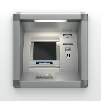 카드 리더기가 있는 atm기. 디스플레이 화면, 버튼, 현금 지급기, 영수증 프린터. 핀 코드 안전, 자동 뱅킹, 전자 현금 인출, 은행 계좌 액세스 개념. 3d 일러스트레이션