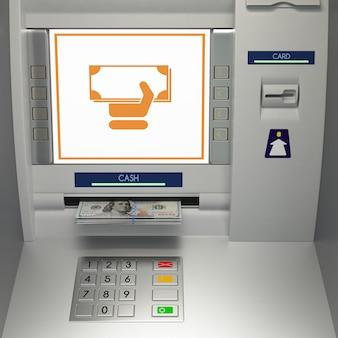 お金のスロットに紙幣を持つatmマシン