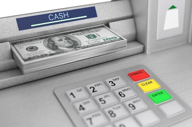 Atm 기계 인출 달러 지폐 극단적인 근접 촬영입니다. 3d 렌더링