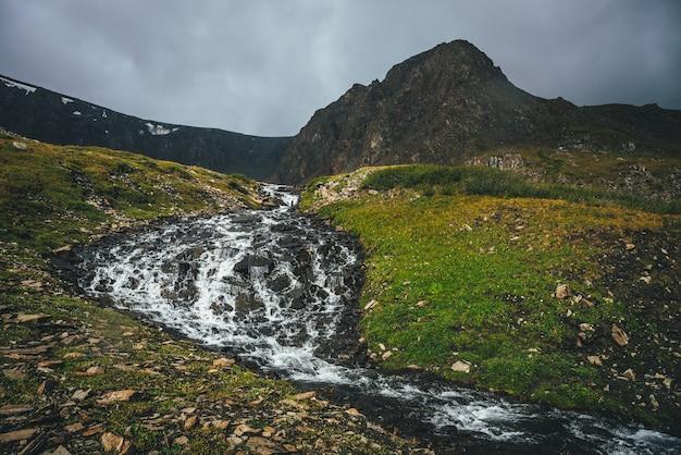 緑の谷の美しいマウンテンクリークとどんよりした天気の素晴らしい茶色の鋭い頂点のある大気中の高山の風景。渓流と曇り空の下の鋭い頂上への素晴らしい高原の景色。
