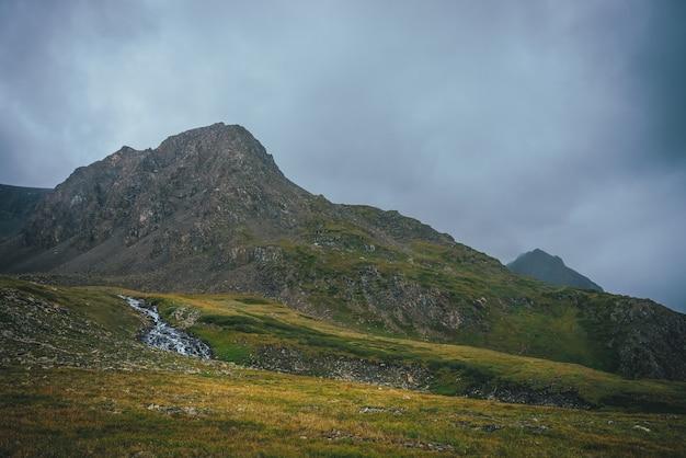 緑の谷の美しいマウンテンクリークとどんよりした天気の素晴らしい茶色の鋭い頂点のある大気の高山の風景。渓流と曇り空の下の鋭い頂上への素晴らしい高原の景色。