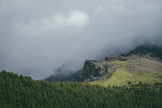 灰色の曇り空に大きな岩がある雰囲気のある山の風景。岩の崖の上の低い雲と緑の森の上のとがった岩のある素晴らしい曇りの風景。雲の中の美しいロッキー山脈。