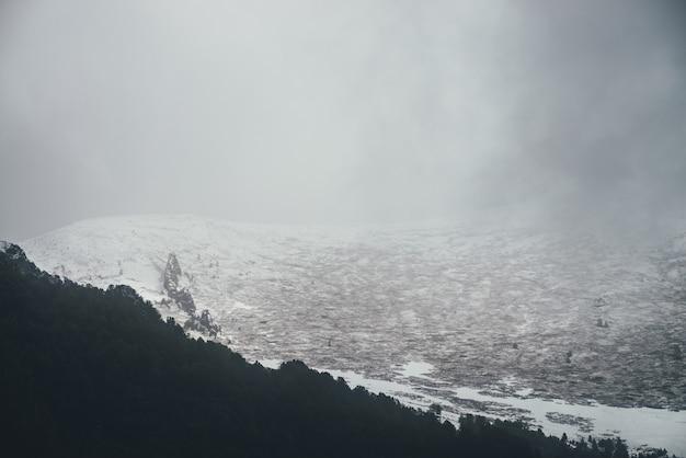 どんよりした天気で暗い森と雪に覆われた山と大気の冬の風景。灰色の低い雲の中に黒い森のシルエットと白い雪に覆われた山の頂上を持つモノクロの暗い風景。