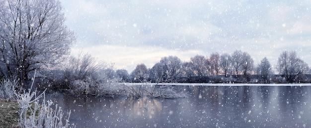 川、海岸の木々、降雪時の曇り空のある大気の冬の風景。川の降雪