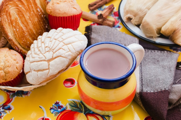 Atole de chocolate, mexican traditional beverage and bread