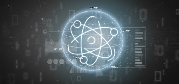 Atom icon surrounded by data