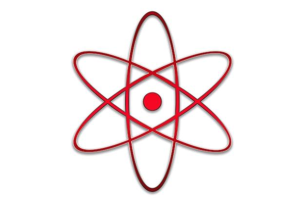 Концепция иллюстрации значка атомной энергии атомной энергии в красном
