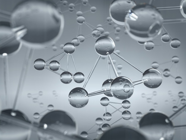 유리 소재 배경으로 만들어진 원자 또는 분자