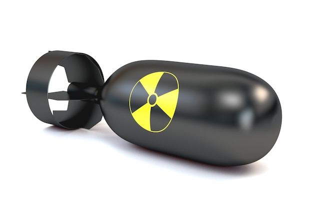The atomic bomb with a round icon radiation, isolated on a white background.