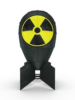 Atomic bomb with a sign of radiation