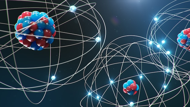 Atomic structure. glowing energy balls, nuclear reaction.