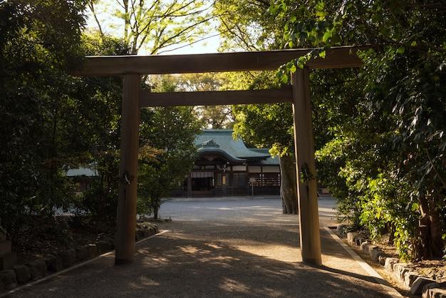 Atsuta shrine and torii gate at sunset, nagoya