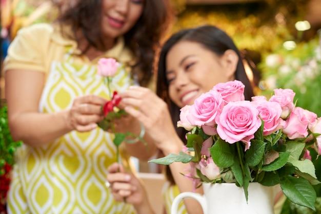 Attending florist workshop