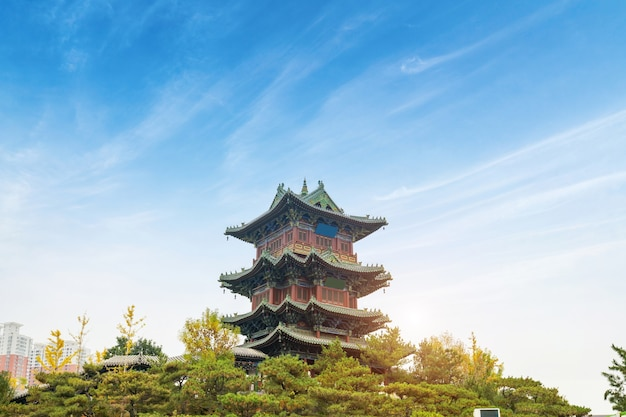 The attic of ancient chinese architecture is in the park
