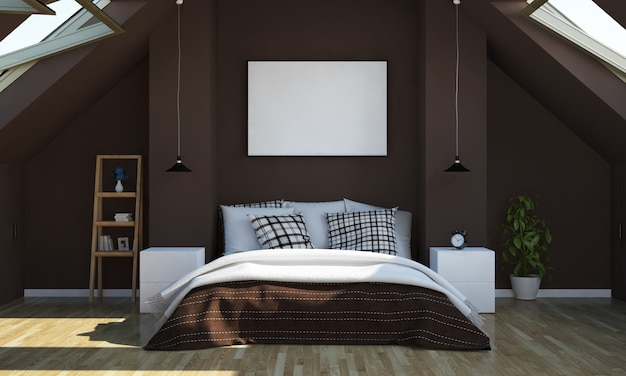 Attic bedroom with poster mockup