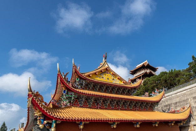The attic of chinese traditional ancient architecture is the whole and part of mazu pavilion in putian, china