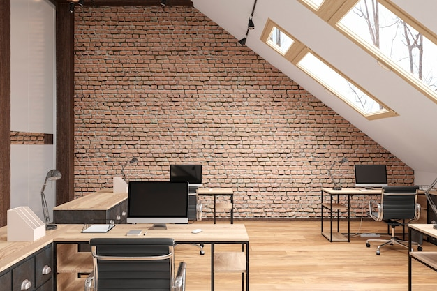 Мансардный офис открытого типа с балками, стеклянными дверями, кирпичной стеной, деревянным полом, мебелью и компьютерами. 3d визуализация иллюстрации макет.