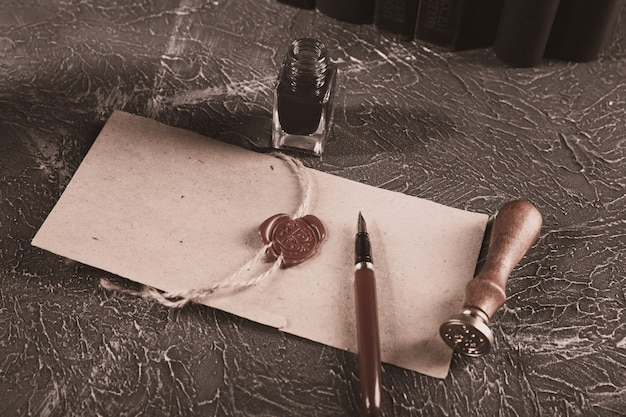 Attorney and notary concept. old pen and paper document on the desk.