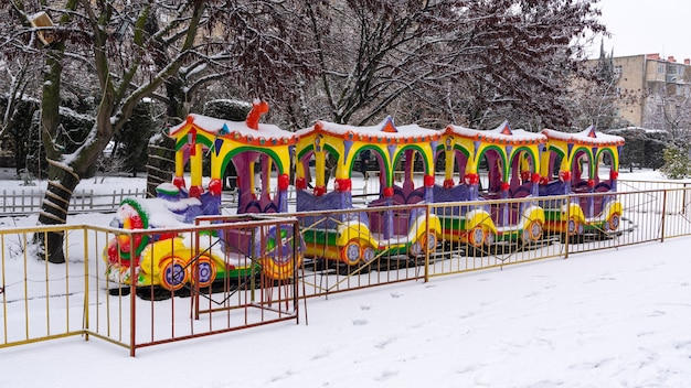 Attraction childrens railway in city park at winter season