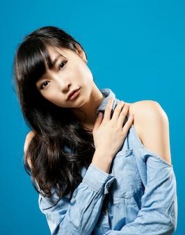 Attractive asian beauty, closeup portrait