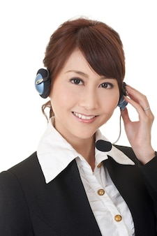 Attractive asian business secretary with smiling face, closeup portrait.