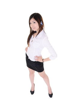 Attractive assistant woman standing